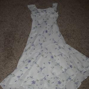 White dress with purple flowers